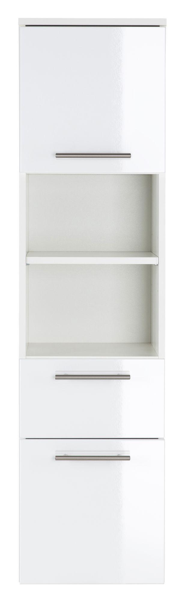 Hochschrank Basic 135, Farben: weiß/weiß hochglanz, weiß/schwarz seidenglanz,weiß/anthrazit seidenglanz, weiß/eiche hell, weiß/beton