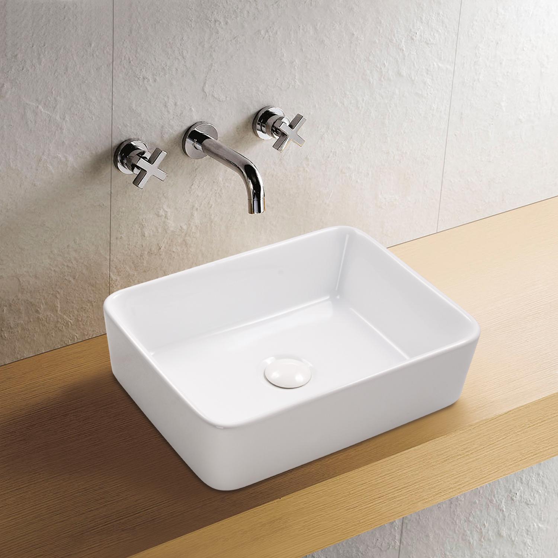 Aufsatz Keramik Waschbecken Soho Brillant Weiß 48 cm