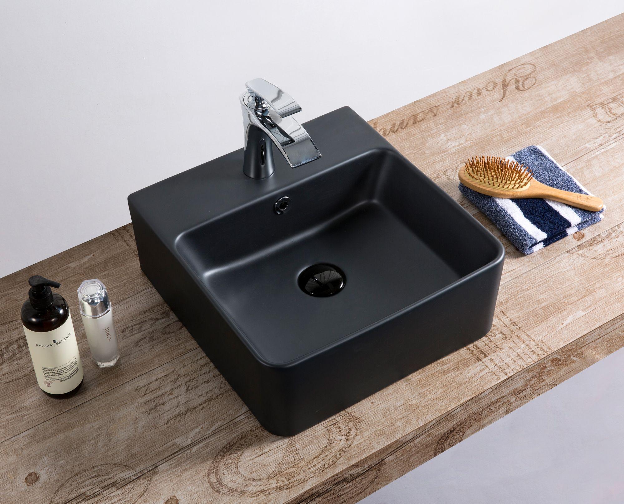 Wand Hänge Gäste WC Keramik Waschbecken Soho dünner Rand 40 x 42 cm Matt  Schwarz
