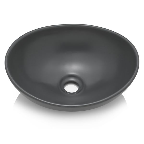 Aufsatz Keramik Waschbecken Park 40 Cm Anthrazit Matt