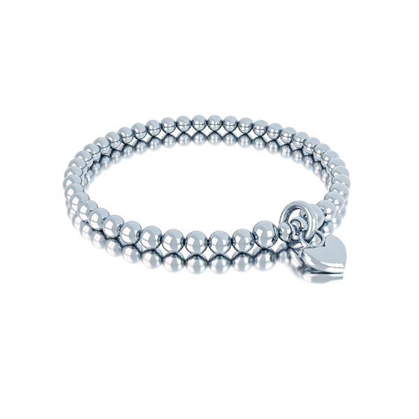 MIOMI 925 Sterling Silber Perlen Armband mit Herzanhänger Love