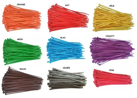 100 x Cable tie 4,8x300mms, different colours – image 1