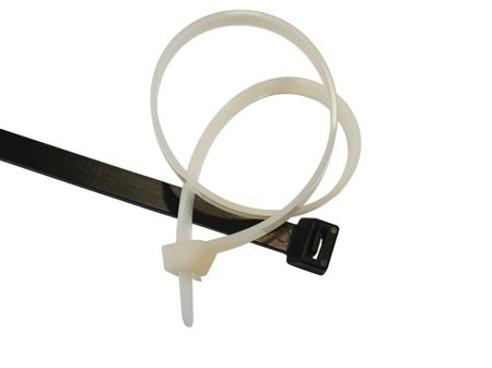 100 x Releasable cable tie 4,8x200mms natural or black