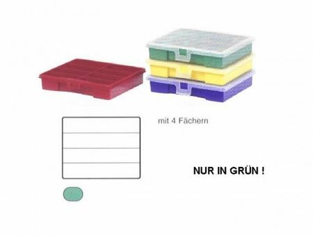 Sorting Box / Assortment Box green 4 compartments 180x150x36 mms – image 1