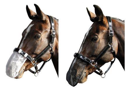 Fliegenschutznetz Nasennetz Hilfe bei Headshaking Syndrom Full schwarz oder weiß – Bild 1
