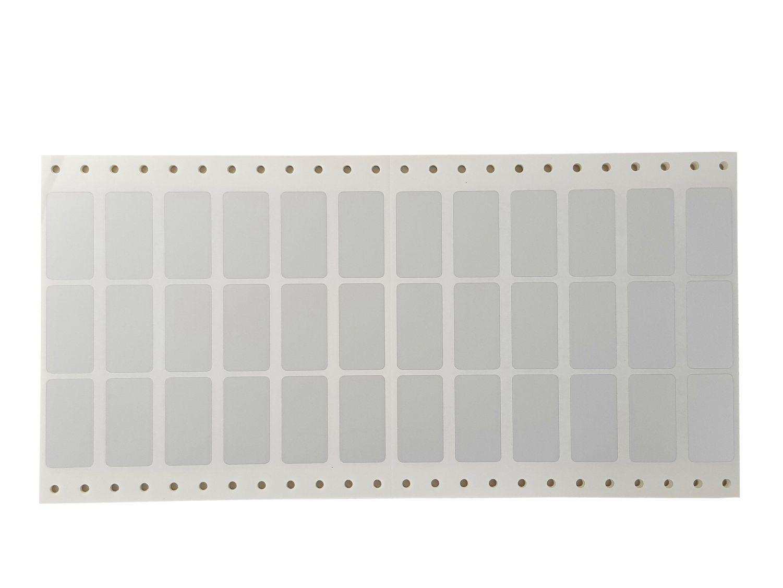 Polyester Etiketten 38x20mm silber 36 Stück