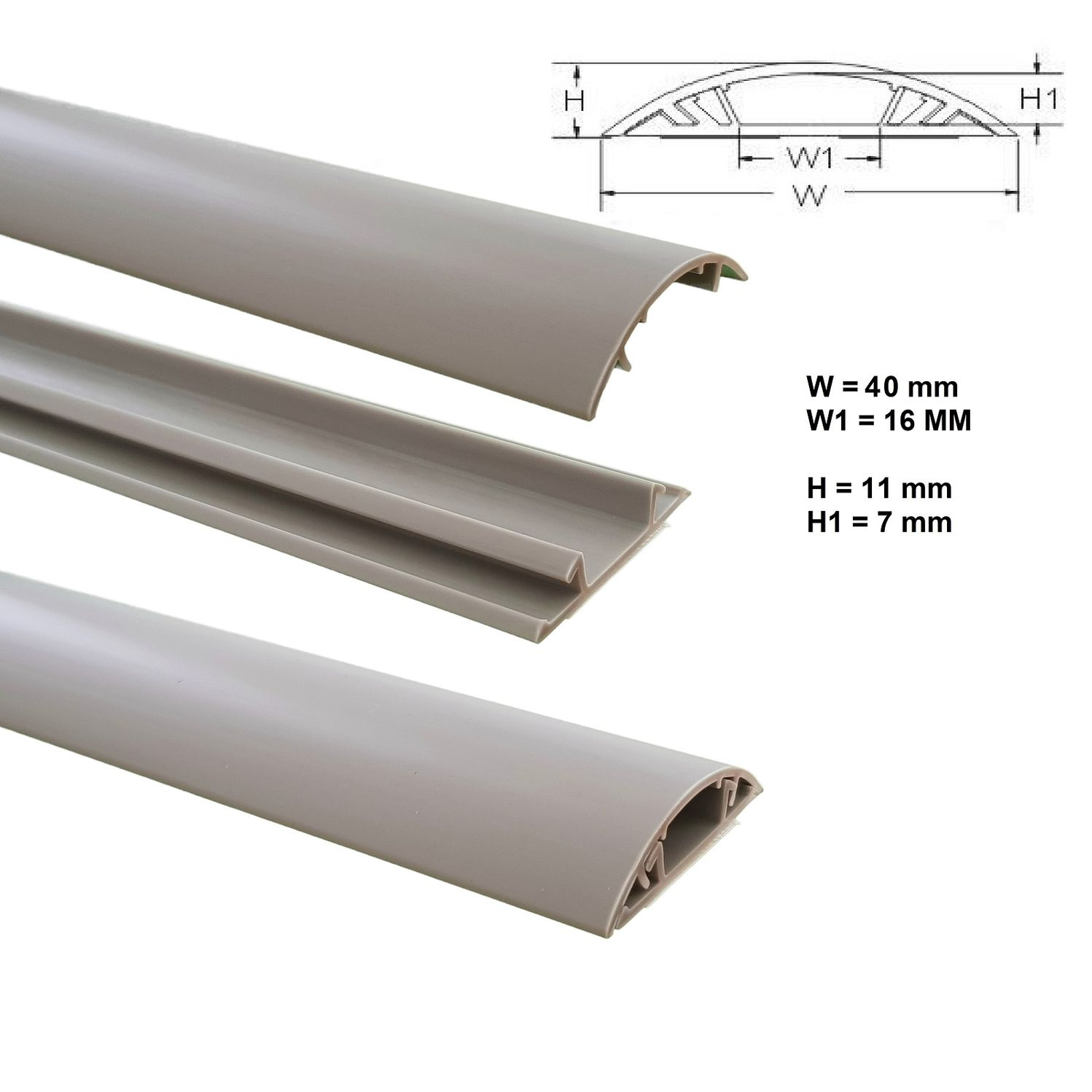 Floor wire duct 1m self-adhesive 40mms wide Cable installation Cable ...