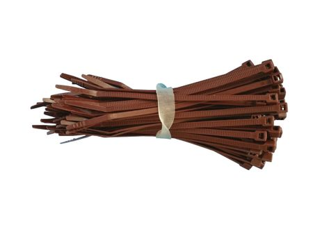 100 x Cable tie 2,5x100mms brown polypropylene