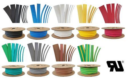 75m Heat-shrinkable tubing BEC2 12,0 mms coloured Polyolefin 125°C (2:1) UL – image 1