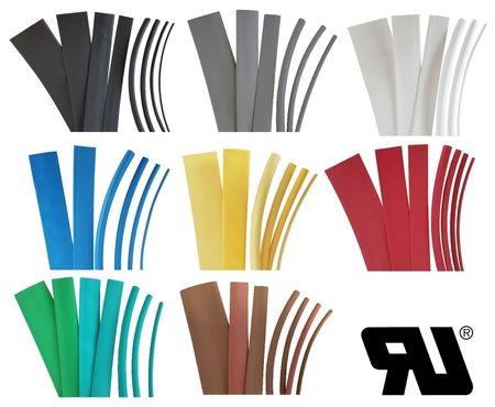 2m Heat-shrinkable tubing 12,0mms 2:1 Polyolefin 125°C UL coloured – image 1