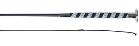 Edle Dressurgerte Gerte mit Kristallverzierung am Griff 120 cm Blau oder Schwarz – Bild 2