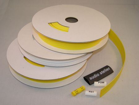 Imprintable Heat-shrinking Tubing 3 mms for thermal transfer printer yellow roll of 22m