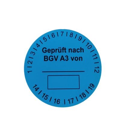 Self-adhesive test badges blue 1000 pieces for electrical check in a dispenser Minibox
