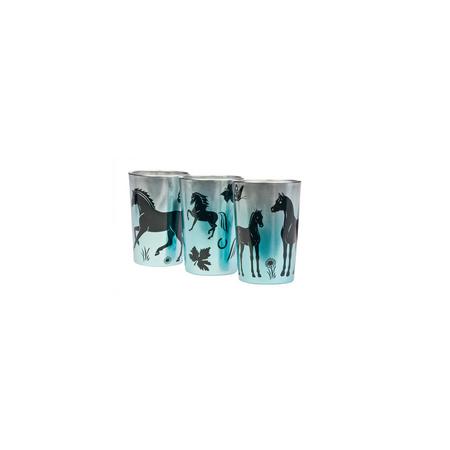 Dekoration Teelichtgläser Pferde Blau-Metallic (3er Set) – Bild 2