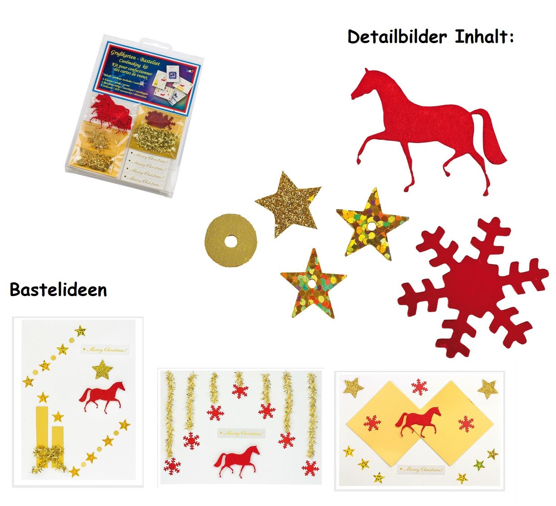 aktion bastelset weihnachtskarten gru karten pferd motiv. Black Bedroom Furniture Sets. Home Design Ideas