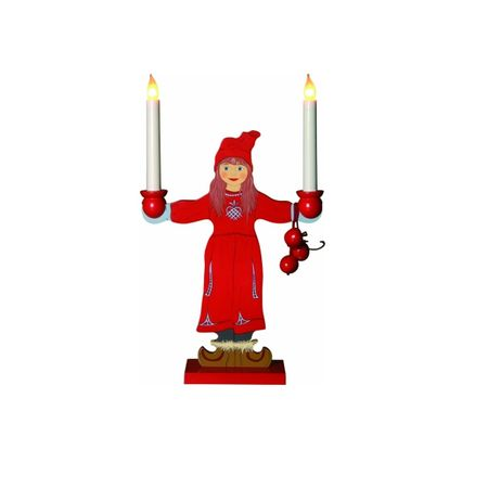 SALE !! Window LED Holder Figure of a Girl 50cms high red with 2 lights