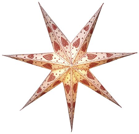 Hanging Star 60cms 7-pointed creme/red without cabel – image 1