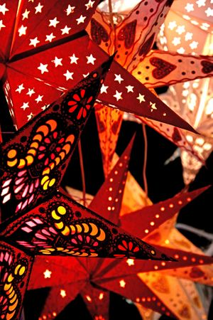 Hanging Star 60cms 7-pointed creme/red without cabel – image 2