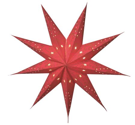 Paper Christmas Star Hanging Star 60 cms 9-pointed red without cable – image 1