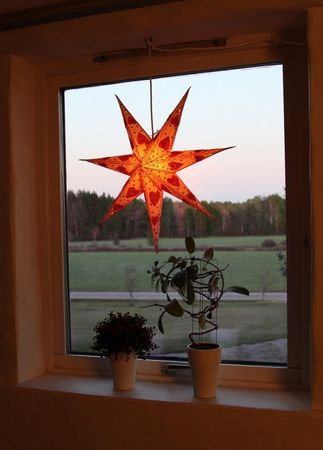 SET!! Hanging Star 60cm 7-pointed creme/red including calbe 3,5m – image 2