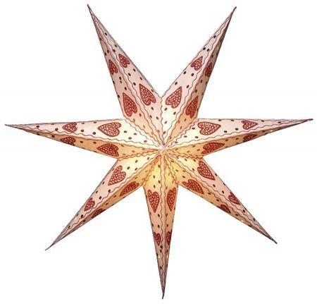 SET!!! Stern hängend 60cm 7 zackig creme/rot inkl. Kabel 3,5m – Bild 1