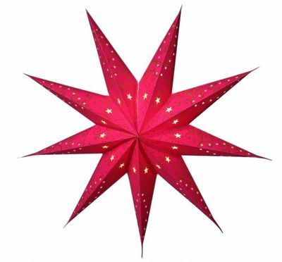 SET!! Hanging Star 60cms 9-pointed red including cable 3,5m – image 1