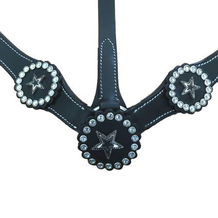 Leder Western Einohrtrense mit Zügel und Vorderzeug Schwarz – Bild 3