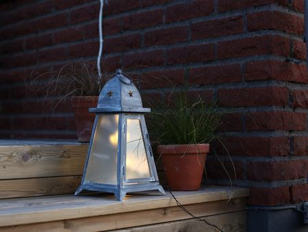 AKTION Laterne 10 LED Warmweiß 38x19cm Antik-Grau Metall mit Glaseinsatz Outdoor – Bild 3
