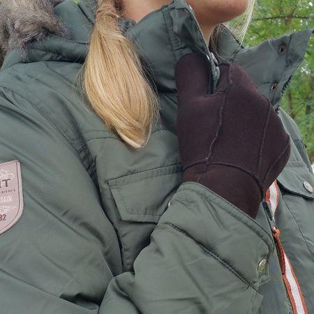 Warme Lammfell Handschuhe schwarz, braun, weiss – Bild 7