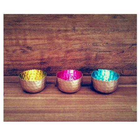 Strahlender Teelichthalter Windlicht Dekoschale Metall silber 8x6 cm div. Farben – Bild 13