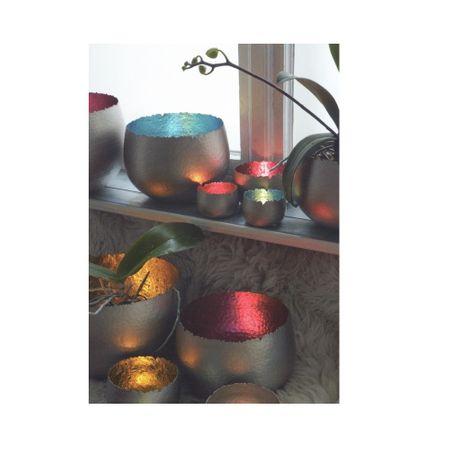 Strahlender Teelichthalter Windlicht Dekoschale Metall silber 8x6 cm div. Farben – Bild 14