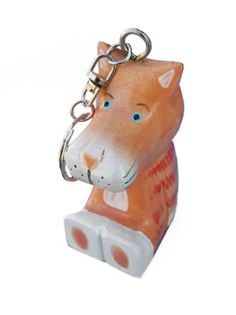 SALE - Wooden Keyring Tag Cat or Pig – image 2