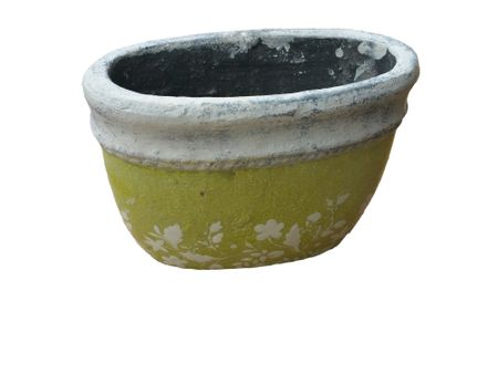 SALE!! Flower Pot Oval in antique look pastel green/white 19x14 cm