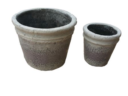 SALE!! Round Flower Pot with antique design violet set-of-2  11x12cms and 8x8cms