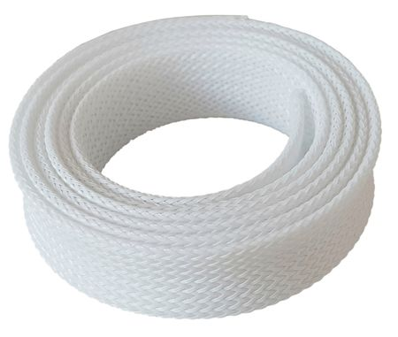 1m Braided Expandable Sleeving 10-22 mms white
