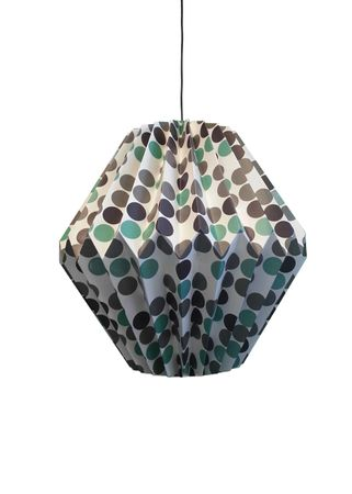 SALE!! Paper Lamp dotted 32 x 19 cms with grey brown green dots – image 1