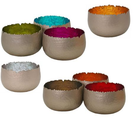 Shining Tea Light Holder Lantern Deco Bowl metal 12x7cms diff. colours – image 1