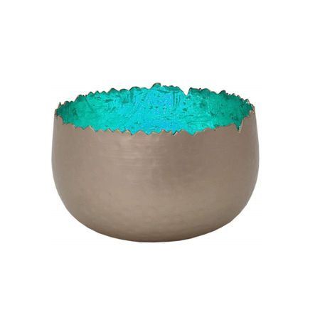 Shining Tea Light Holder Lantern Deco Bowl metal 12x7cms diff. colours – image 10