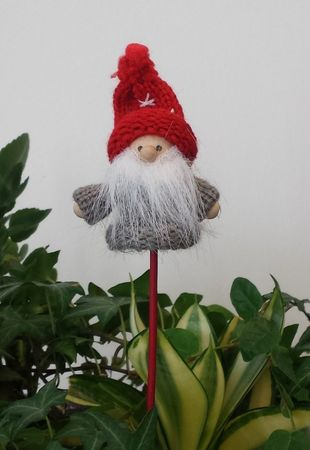 SALE!! Wooden Stick Christmas, Wooden Pick for flower pots Santa Claus grey-red Motive 1