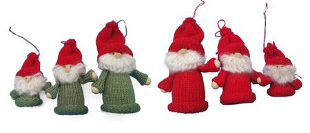 Set of 3 small season gnomes in diff. sizes grey, red and green – image 1