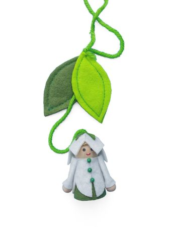 Flower Kid with felted leaves for hanging – image 2