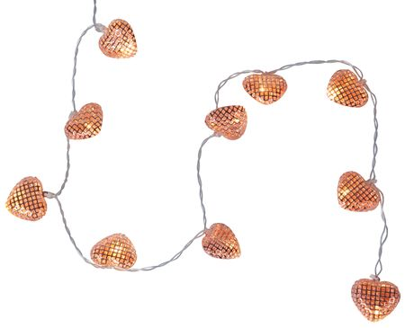 "LED Battery Chain of Lights ""Hearts"" with copper-coloured metal hearts Indoor – image 1"