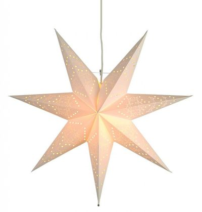 SALE !! Christmas Star Hanging Star punched classy white 54cms 7-pointed with cable