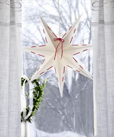 SALE !! Hanging Star White Star 60 cms with red ribbon incl cable 3,5m – image 2
