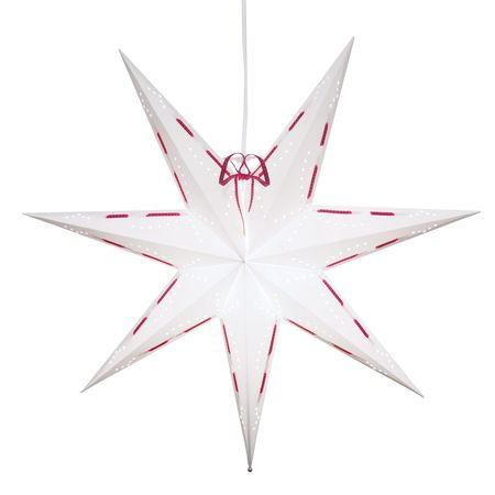 SALE !! Hanging Star White Star 60 cms with red ribbon incl cable 3,5m – image 1
