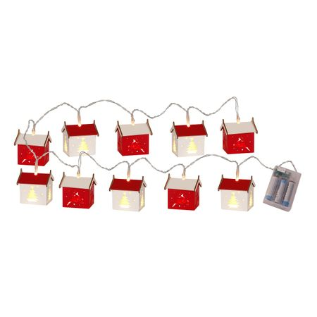 LED Battery Chain of Lights with timer Small Wooden Houses 10 lights – image 1