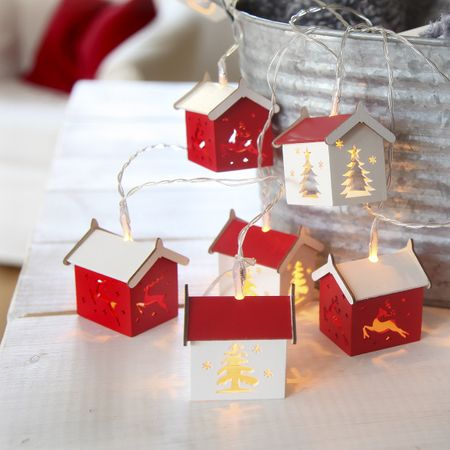 LED Battery Chain of Lights with timer Small Wooden Houses 10 lights – image 3