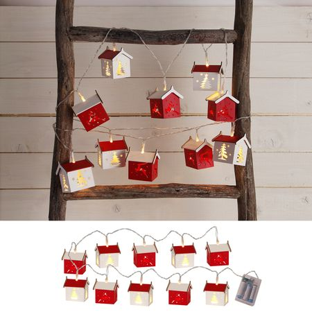LED Battery Chain of Lights with timer Small Wooden Houses 10 lights – image 2