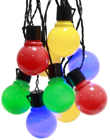 LED Party Chain of Lights multi-coloured Chain of Bulbs 16-part black cable indoor+outdoor – image 1
