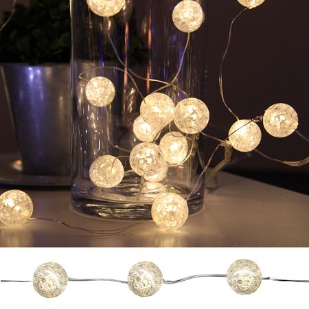 "15x LED Battery Chain of Lights ""Marble Balls"" with Timer Indoor – image 2"